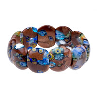 Hot Brown Oval Murano Glass Blue And Yellow Flower Bracelet