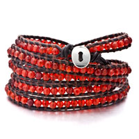 Indian Red Agate Bead Wrap Bracelet On Brown Leather Chip Stone