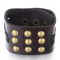 Dark Brown Leather Multiple Rivet Triple Adjustable Button Bracelet