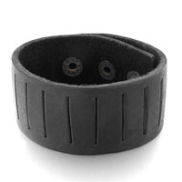 Black Leather Seam Triple Adjustable Button Bracelet
