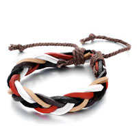 Intertwined White Black Red Brown Leather Jute Rope Bracelet