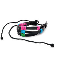 Pink Blue Green Items On Multistrand Leather Bracelet Adjustable