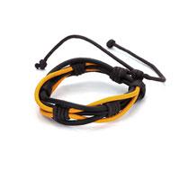 Black Yellow Leather Button Multistrand Adjustable Bracelet