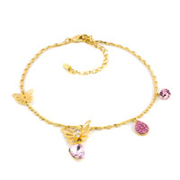 Purple Crystal 18 K Gold Plated Butterflies Anklet Lobster Clasp Bracelet