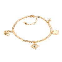Clear Crystal 18 K Gold Plated Butterfly Flower Anklet Adjustable Bracelet