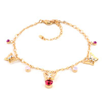 Rose Pink Swarovski Elements Crystal 18 K Gold Plated Butterflies Ankle Adjustable Bracelet Anklet Lobster Clasp