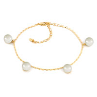 Simple Clear White Crystal 18 K Gold Plated Bell Anklet Lobster Clasp Bracelet