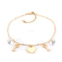 18 K Gold Plated Keys And Heart Crystal Dangle Anklet Lobster Clasp Bracelet