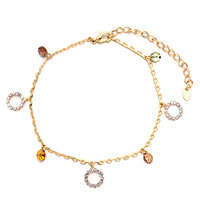 Golden Dangle Topaz Crystal Ankle Adjustable Anklet Lobster Clasp Bracelet