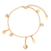 Fashion Golden Chain Round Light Topaz Crystal Anklet Lobster Clasp Bracelet