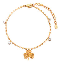 Golden Chain Clover November Birthstone Crystal Anklet Lobster Clasp Bracelet