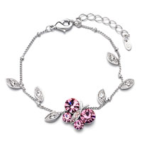 Silver P Chain Butterfly October Birthstone Crystal Round Anklet Bracelet