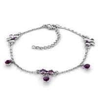 Amethyst Purple Elements Crystal Adjustable Bracelet Anklet Lobster Clasp