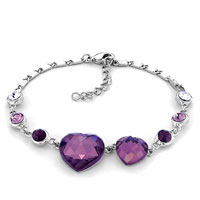 February Birthstone Amethyst Crystal Silver Tone Heart Love Bracelet Women