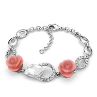 Pink Rose Flower Crystal Ankle Adjustable Bracelet Lobster Clasp