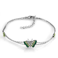 Fashion Green Butterfly Bling Crystal Ankle Adjustable Bracelet
