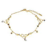 Golden Love Ankle Bracelet Anklet White Crystal Lobster Clasp
