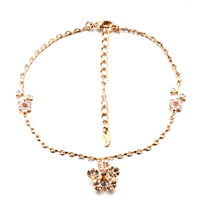 Colorful Flower Golden Ankle Bracelet Anklet Swarovski Crystal Lobster Clasp