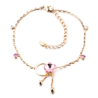 October Birthstone Pink Crystal Ankle Butterfly Bracelet For Women
