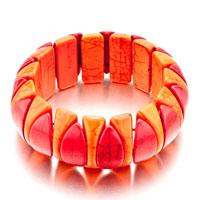 Women Summer S Red Orange Turquoise Tooth Murano Glass Bracelet