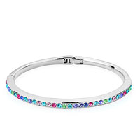 Silver Chain Embedded Colorful Austrian Crystal Bracelets For Women