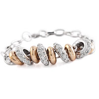 Chain Rose Gold Round Clear Swarovski Ring Ball Lobster Clasp Bracelets