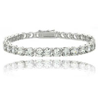 Clear White Cubic Zirconia Tennis Bracelet Accent Infinity Bracelet
