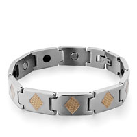 Mens Stainless Steel Bracelets Cuff Bangle Bracelets 10 Links Golden Rhombus Mens Bracelet