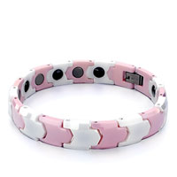 Mens Stainless Steel Bracelets Cuff Bangle Bracelets Beautiful White Pink Ceramic Links Bracelet