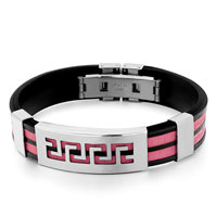 Mens Stainless Steel Bracelets Cuff Bangle Bracelets Black Silicone Bracelet Double Hot Pink Loops Stainless Rectangle Pattern