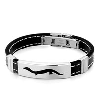 Filigree Black Silicone Mens Bracelet Rectangle Crocodile Mens Stainless Steel Bracelets Cuff Bangle Bracelets