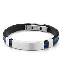Black Silicone Bracelet Twined Blue Loop Plain Rectangle Mens Stainless Steel Bracelets Cuff Bangle Bracelets