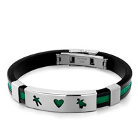 Black Silicone Green Loop Rectangle Boy Girl In Love Bracelet Mens Stainless Steel Bracelets Cuff Bangle Bracelets
