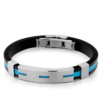 Black Silicone Bracelet Cyan Loop Pattern Rectangle Mens Stainless Steel Bracelets Cuff Bangle Bracelets