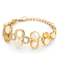 Alternate Gold Round Shell Rhinestone Crystal Pearl Lobster Clasp Extend Bracelets