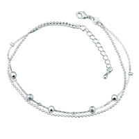 Lovely Five Beads Double Chain Silver Plated Anklet Girls Women Bracelet