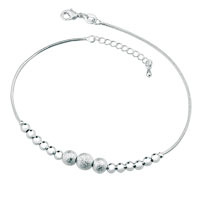 Grind Arenaceous Beads Chain Adjustable Silver Plated Anklet Girls Women Bracelet