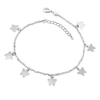 Silver Plated Active Butterfly Dangle Adjustable Anklet Girls Women Bracelet