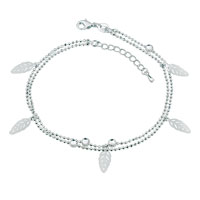 Fashion Leaves Dangle Beads Chain Silver Plated Adjustable Anklet Girs Women Bracelet