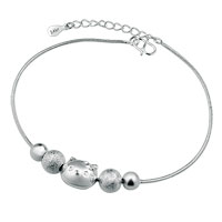 Silver Plated Grind Arenaceous Beads Lovely Kt Cat Adjustable Anklet Girls Women Bracelet