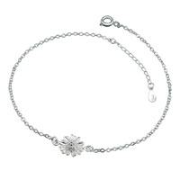 Silver Plated Beautiful Blooming Marguerite Adjustable Anklet Girls Women Bracelet