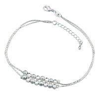 Silver Plated Alternate With Grind Arenaceous Light Beads Adjustable Anklet Bracelet