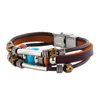 Beads Design Stainless Steel Clasp Dark Brown Leather Cord Wristband Bracelets