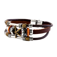 Fashion Plaza Star Beads Design Stainless Steel Clasp Brown Leather Cord Wristband Bracelets