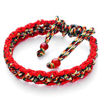 Red Colorful Woven Cotton Adjustable Extended Bracelet