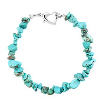Hot Handmade Genuine Turquoise Natural Gem Stone Chips Bracelet