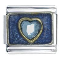 Rhinestone Heart Blue Love Italian Charm Bracelet