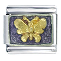 Golden Italian Charm Bracelet Butterfly On Purple
