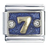 Number 7 Blue Italian Charms