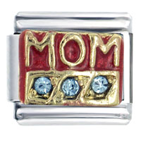 Mom Red Blue Italian Charms